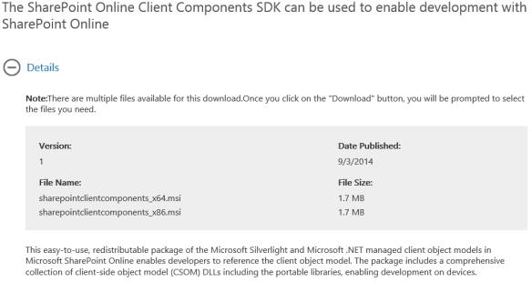 SharePointOnlineClientComponentsSDK